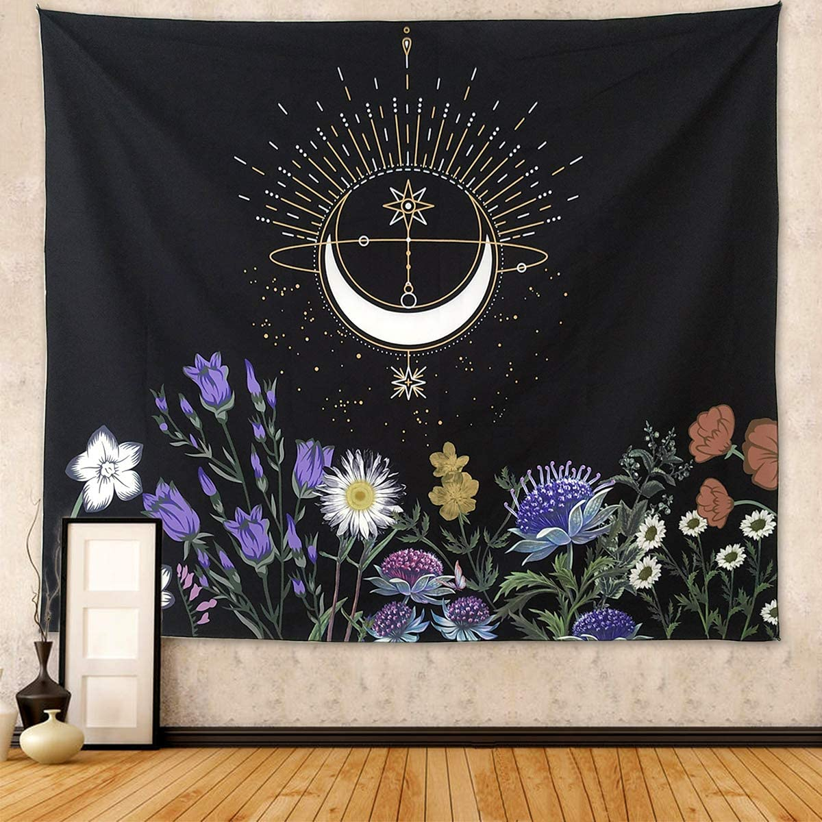 """NASKY Floral Tapestry Moon Flowers Tapestry Wall Hanging Colorful Plants Wall Tapestry Vintage Black and White Tapestry for Bedroom Wall Hanging for Meditation(Flower, 70.9"""" X 90.6""""-(180x230cm))"""