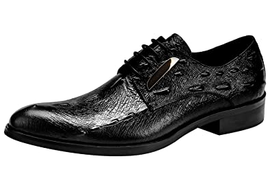 0909d4370ccf2 Santimon Dress Shoes for Men Crocodile Printed Leather Casual Lace Up Walk  Oxfords Black 5 D