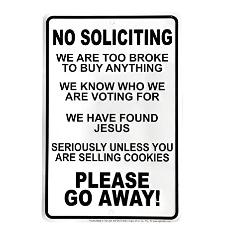 Amazon.com: Funny No Soliciting Go Away Cartel para puerta ...