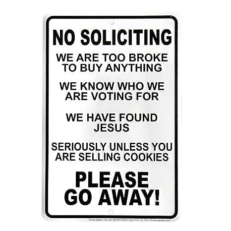 Amazon.com: Funny No Soliciting Go Away Cartel para puerta ...