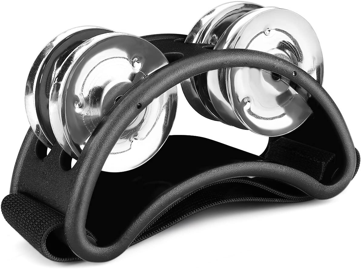Flexzion Foot Tambourine Percussion With Double Row Steel Jingles