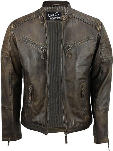 TALLA S. Sábana Bajera Ajustable de Piel para Hombre Real marrón Retro Motorista Vintage Urban con Cremallera Casual Chaqueta