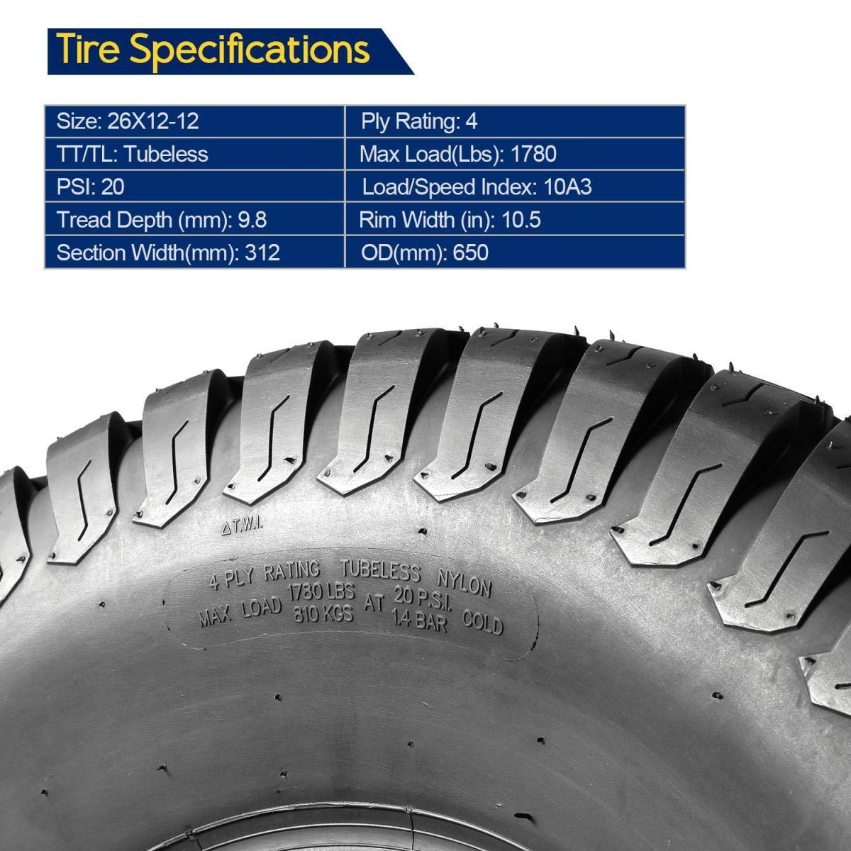 Set of 2 MaxAuto 26x12-12 26x12x12 Turf Tires for Lawn /& Garden Mower,4 Ply Tubeless