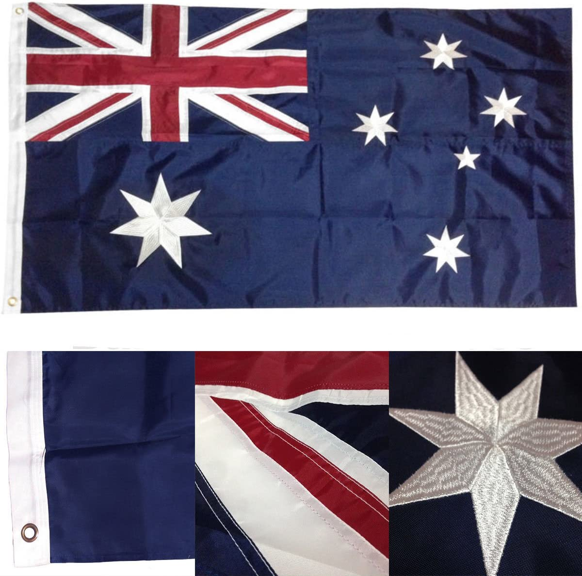 3x5 Embroidered Australia Australian 210D Sewn Nylon Flag PREMIUM Vivid Color and UV Fade BEST Garden Outdor Decor Resistant Canvas Header and polyester material FLAG