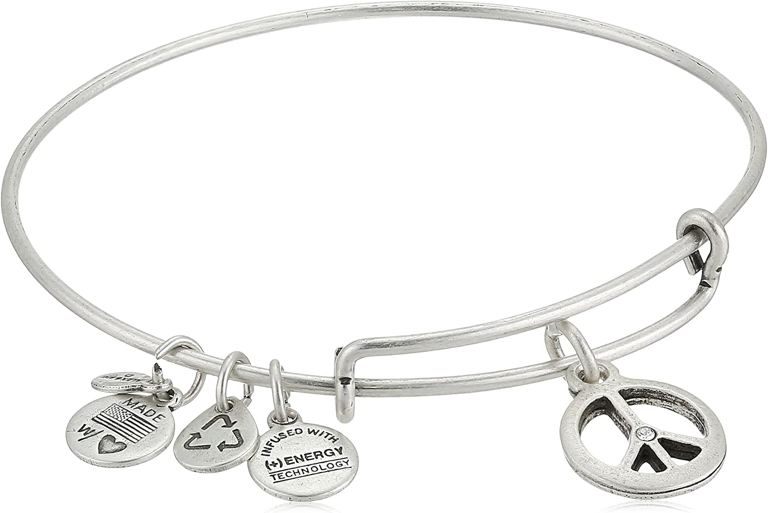 "Alex and Ani Bangle Bar ""World Peace"" Rafaelian Expandable Bracelet, 7.75"""
