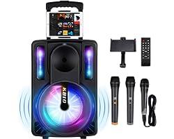 Karaoke Machine for Kids & Adults, SEAPHY DJ Lights 10'' Woofer BT Connectivity Rechargeable PA System-Audio Recording, Remot