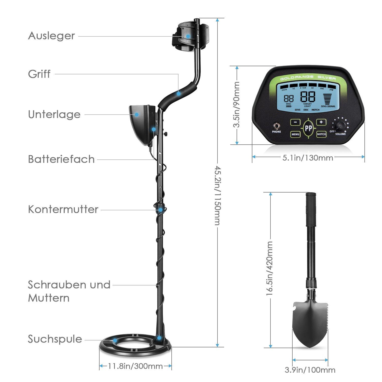 Amzdeal Metal Detector con pantalla LCD, detector de metales profesionalmente con detectores de alta precisión a prueba de agua, con cuchilla plegable: ...