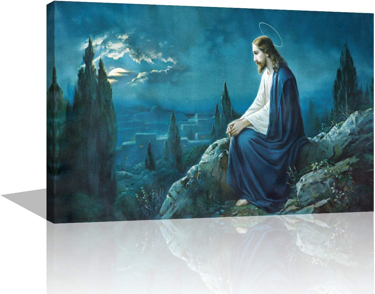 Jesus in Gethsemane Paintings Extra Large Wall Pictures for Living Room Jesus in Garden Artwork Framed 1 Panel Artwork Print On Canvas Home Decor Modern Gallery-Wrapped Ready to Hang (16''X24'')