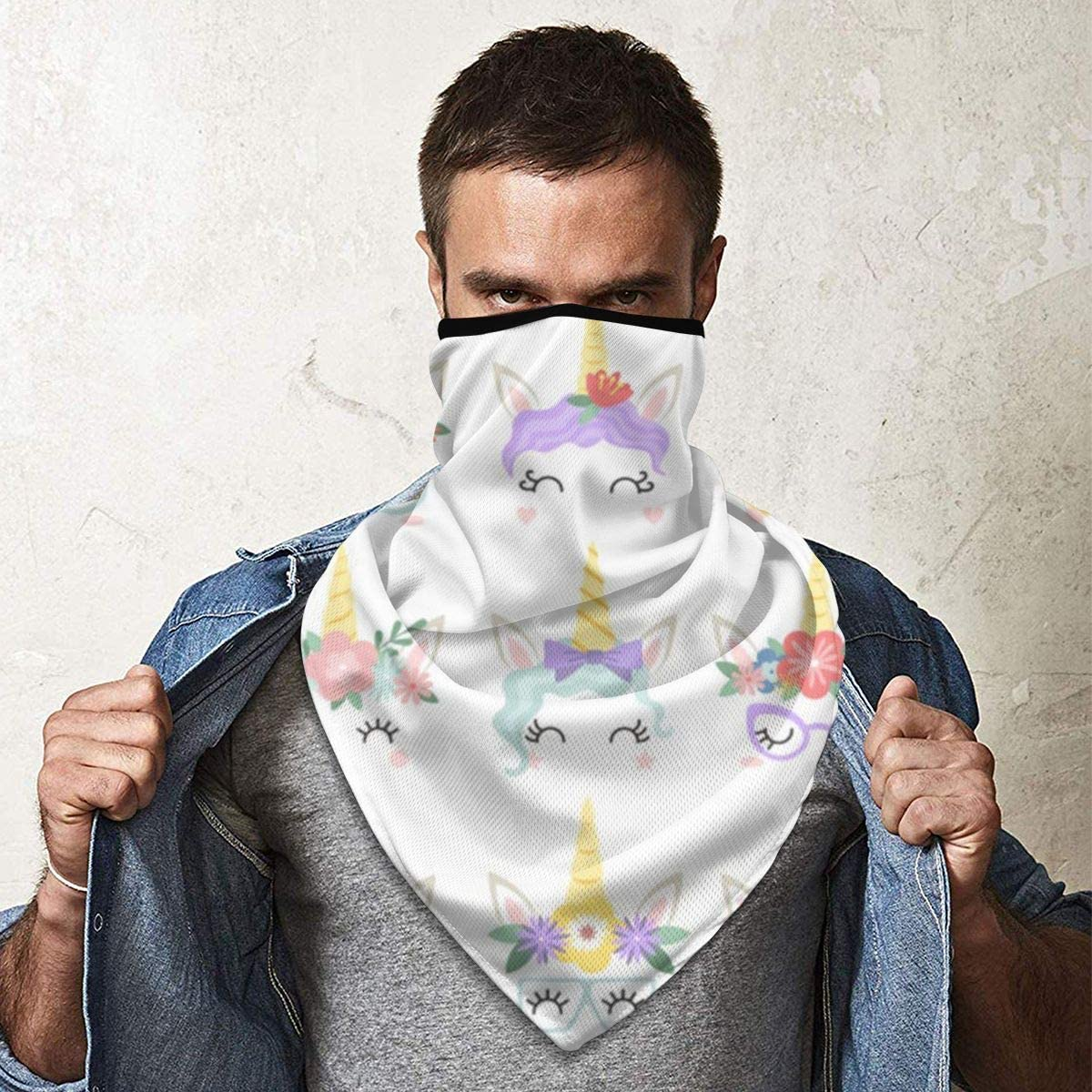 Unicorn Rainbow Flower Cute Eyelashes Neck Gaiter Dust Sun Protection Face Cover Balaclava Sports Headwear Works As Scarf Headband Bandana Face Mask