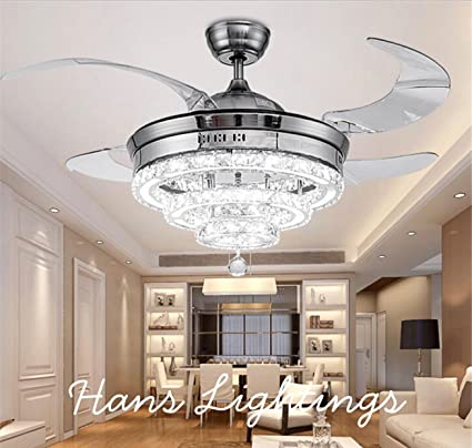 Hans lighting solutions modern chandelier with retractable ceiling fan with remote luxury lightsilver