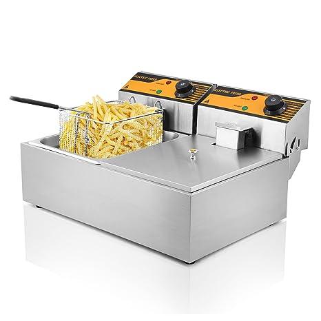 Autocompra Freidora Eléctrica 12L 5000W Freidora Industrial Acero Inoxidable para Patatas Fritas Deep Fryer Commercial (6L + 6L Tanque)