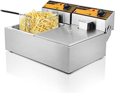 Autocompra Freidora Eléctrica 12L 5000W Freidora Industrial Acero Inoxidable para Patatas Fritas Deep Fryer Commercial (6L + 6L Tanque) : Amazon.es: Hogar