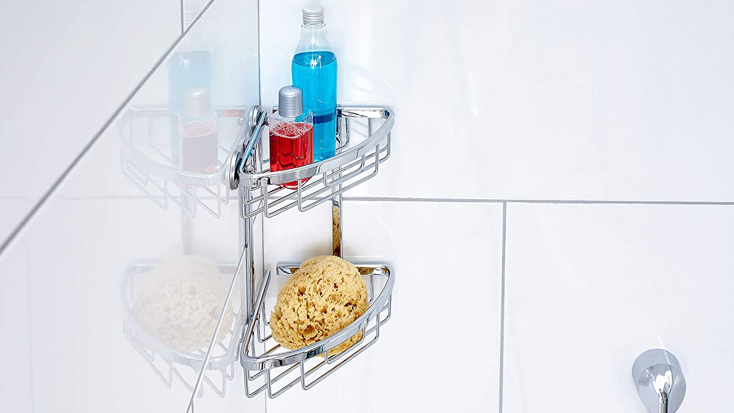 Wall Mounted Wide Bathroom Shower Storage Caddy tesa Aluxx No Drill Removable Glue Adhesive. Chrome-plated Aluminium Shower Basket