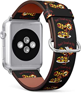 Nothers (Don't Tread On Me Snake) Patterned Leather Wristband Strap for Apple Watch Series 4/3/2/1 gen,Replacement for iWatch 42mm / 44mm Bands