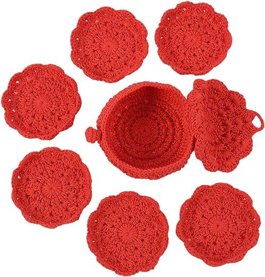 Coral Macrame Circular Drink Coasters  Place Mats Set of 3 or 5