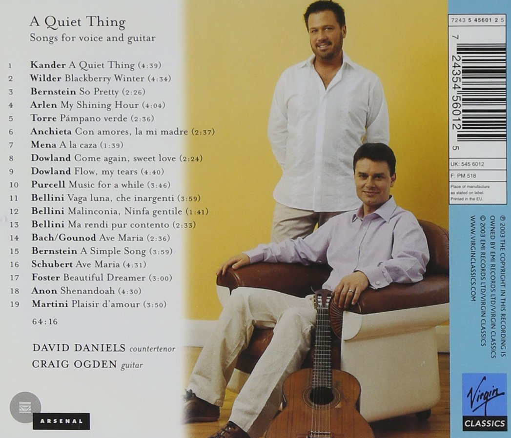 A Quiet Thing; Songs for Voice and Guitar - David Daniels & Craig Ogden by EMI Classics (Image #2)