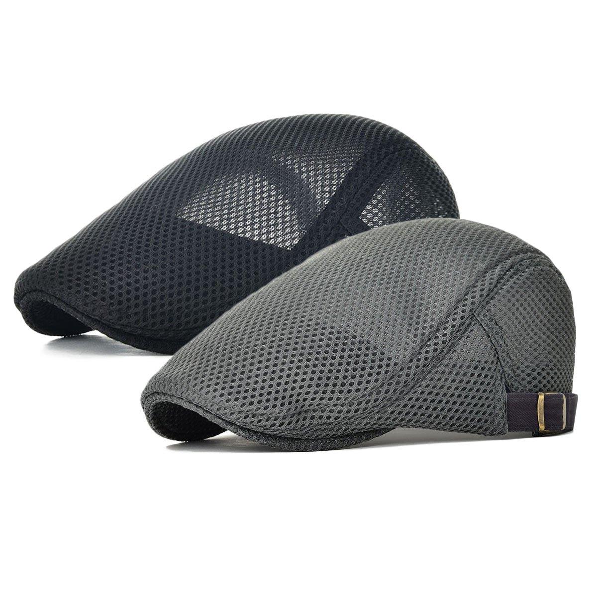 JANGOUL Men's Mesh Flat Cap Duckbill Beret Ivy Gatsby Newsboy Driving Cabbie Caps Hunting Hat (2 Pack-a)