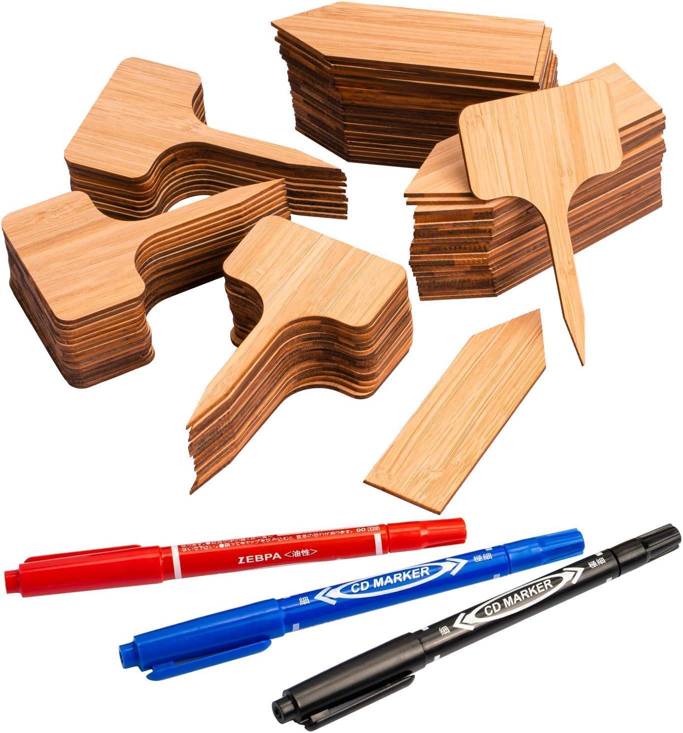 MUSCCCM 100 Piezas Etiquetas de Plantas de Bambú, Letrero de Jardín Ecológico, Marcadores de Planta T-Tipo Forma de Flecha, incluidos 3 Rotuladores