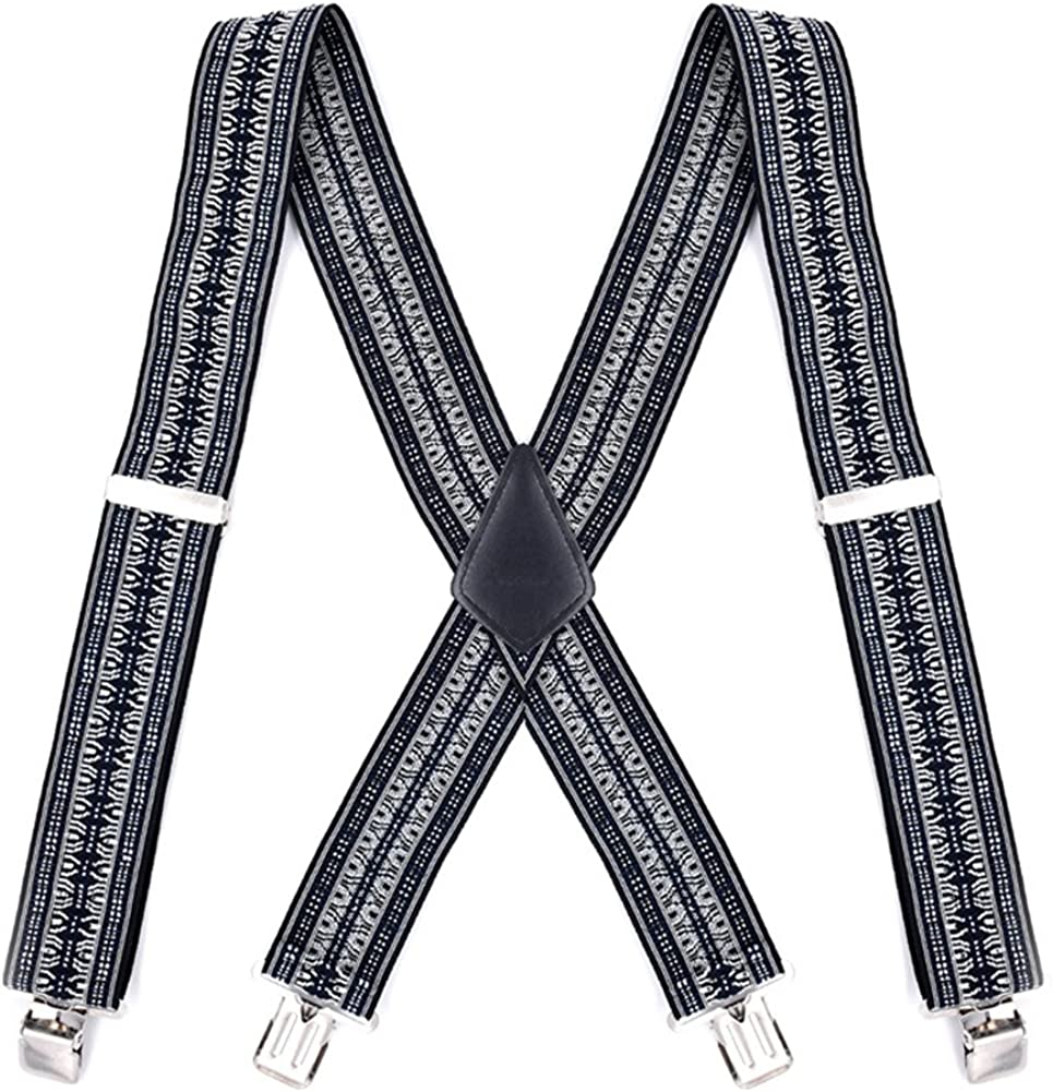 MENDENG Mens Red Blue Stripe 50MM Wide Suspenders Strong Clips Heavy Duty Braces