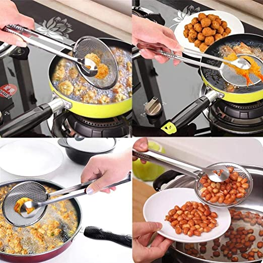 Stainless Steel Filter Spoon With Clip Food Kitchen Oil-Frying Salad BBQ filter