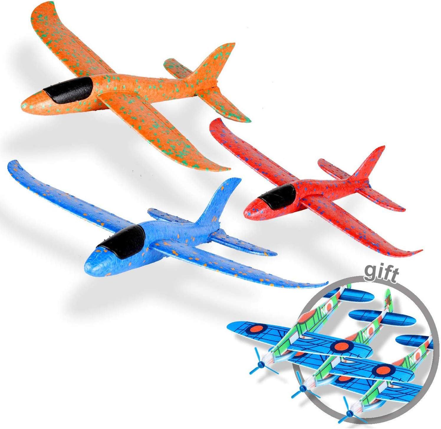 Ulikey 3 Pcs Planos de Espuma, Avión Planeador, Modelo de Avion Deportes al Aire Libre Volar Juguete, Favores de la Fiesta (Naranja, Azul, Rosa)