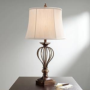Kathy Ireland Villa Roma Open Cage Marble Accent Table Lamp
