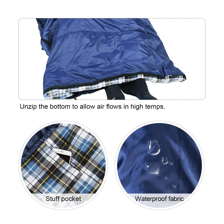 Sac de Compression enveloppe Bleu//Gris 6,3 kg Taille 23//32F REDCAMP Sac de Couchage en Flanelle de Coton pour Adultes