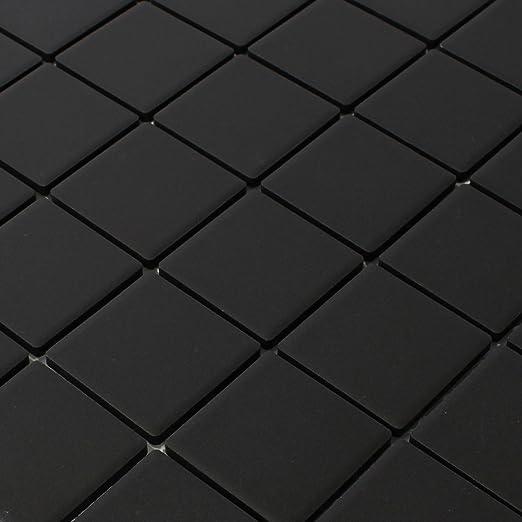 Mosaik Fliese Keramik Brick schwarz gl/änzend K/üchenr/ückwand Spritzschutz MOS24-4BG