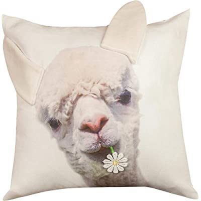 "CC Home Furnishings 18"" Beige 3D Llama Designed Indoor Square Throw Pillow with Knife Edge: Home & Kitchen"
