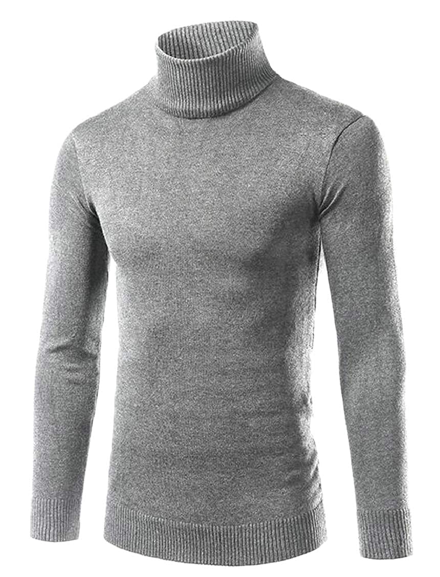 XQS Mens Slim Knitted Sweater Long Sleeve Turtleneck Pullover Jumpers Tops