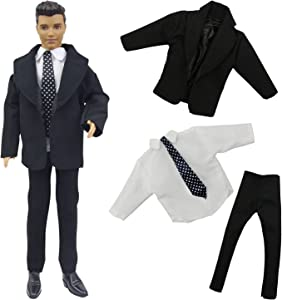 ZITA ELEMENT Black Office Suit Set for 11.5 Inch Girl Doll Boyfriend Doll Suit Clothes and Other 12 Inch Boy Doll Outfts Xmas Gift