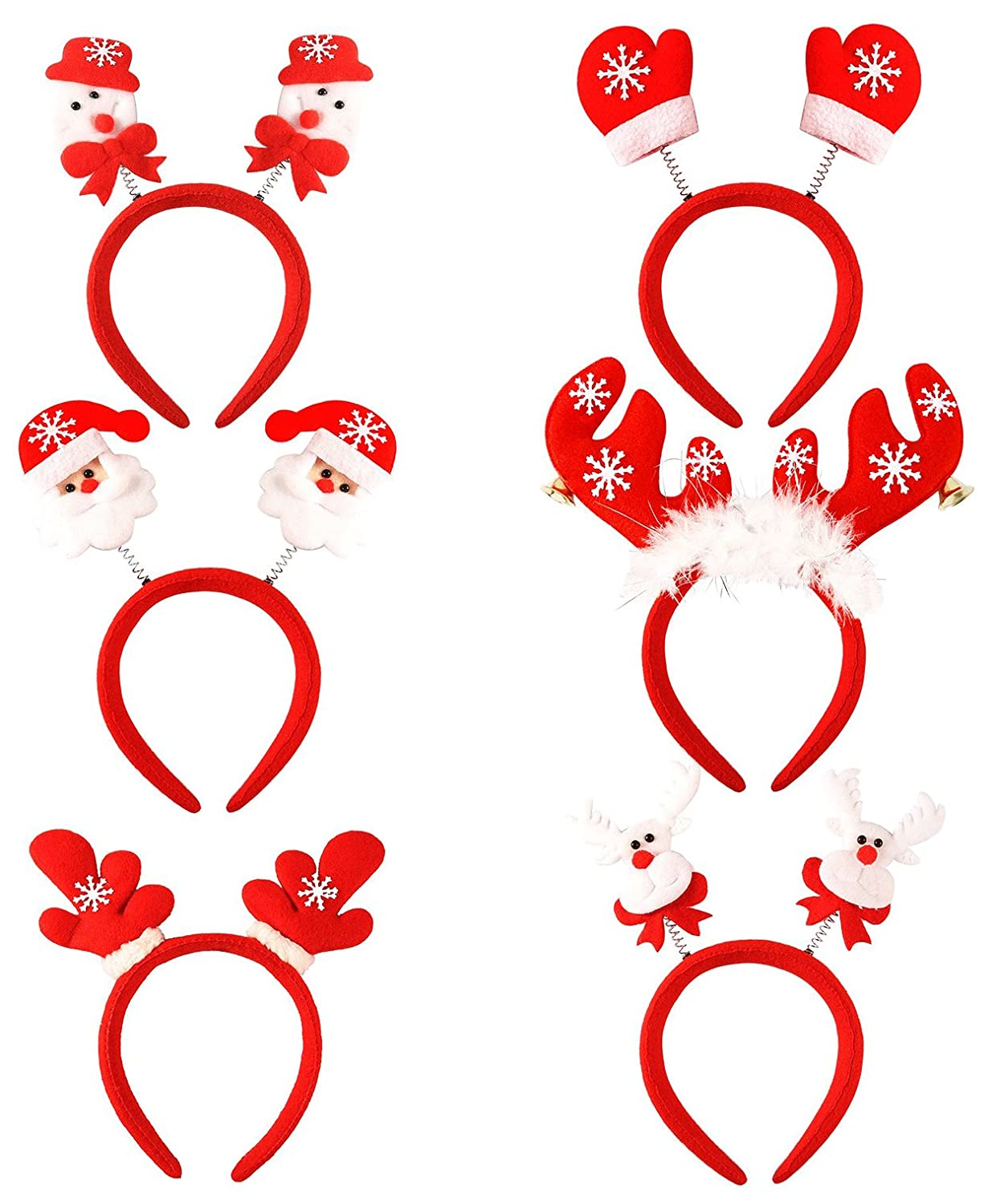Aneco 6 Pack Christmas Toys Headbands Santa Headbands Reindeer Antlers Headband for Cosplay or Christmas Party Supplies