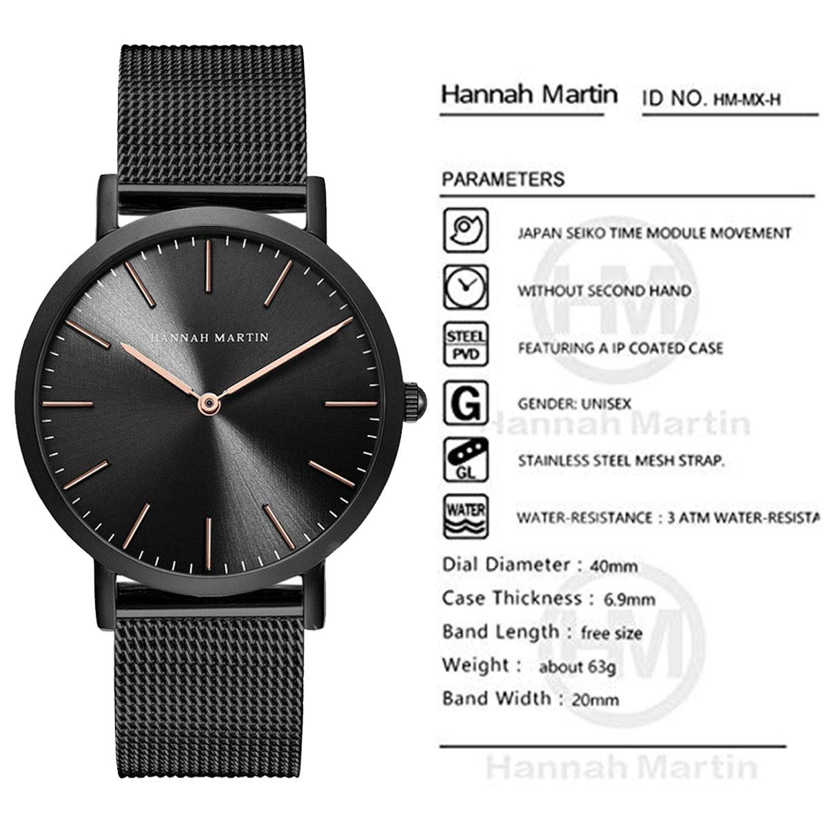 Amazon.com: Hannah Martin Unisex Japan Quartz Wrist Watches for Loves Gifts (Black&Rose Gold): Watches