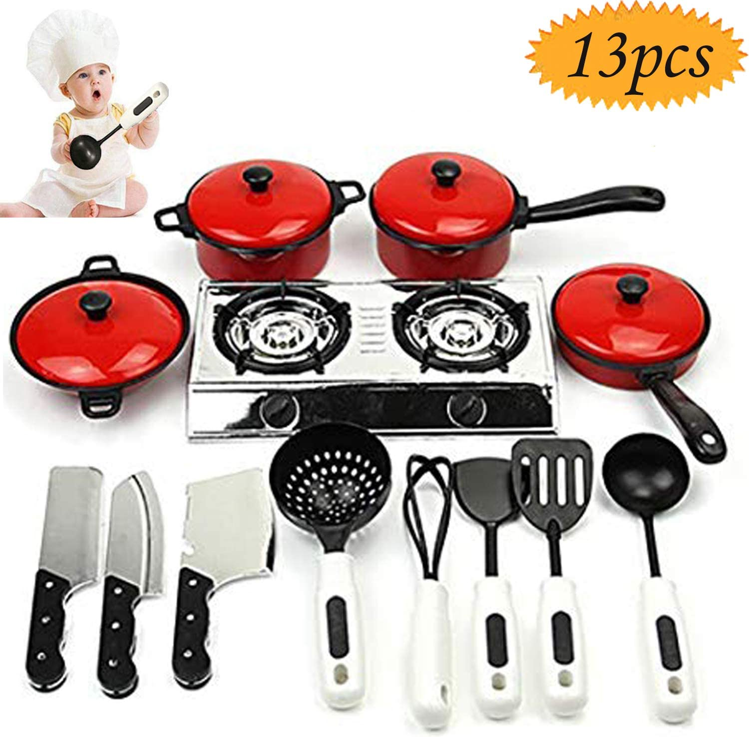 Amazon Com Grocery House Kitchen Pretend Toys 13pcs Child Cooking Toy Kids Play Kitchen Sets Home Cooking Role Play Toys Cooking Food Utensils Pans Pots Dishes Cookware Cooking Toy Gift For Kid Pretend