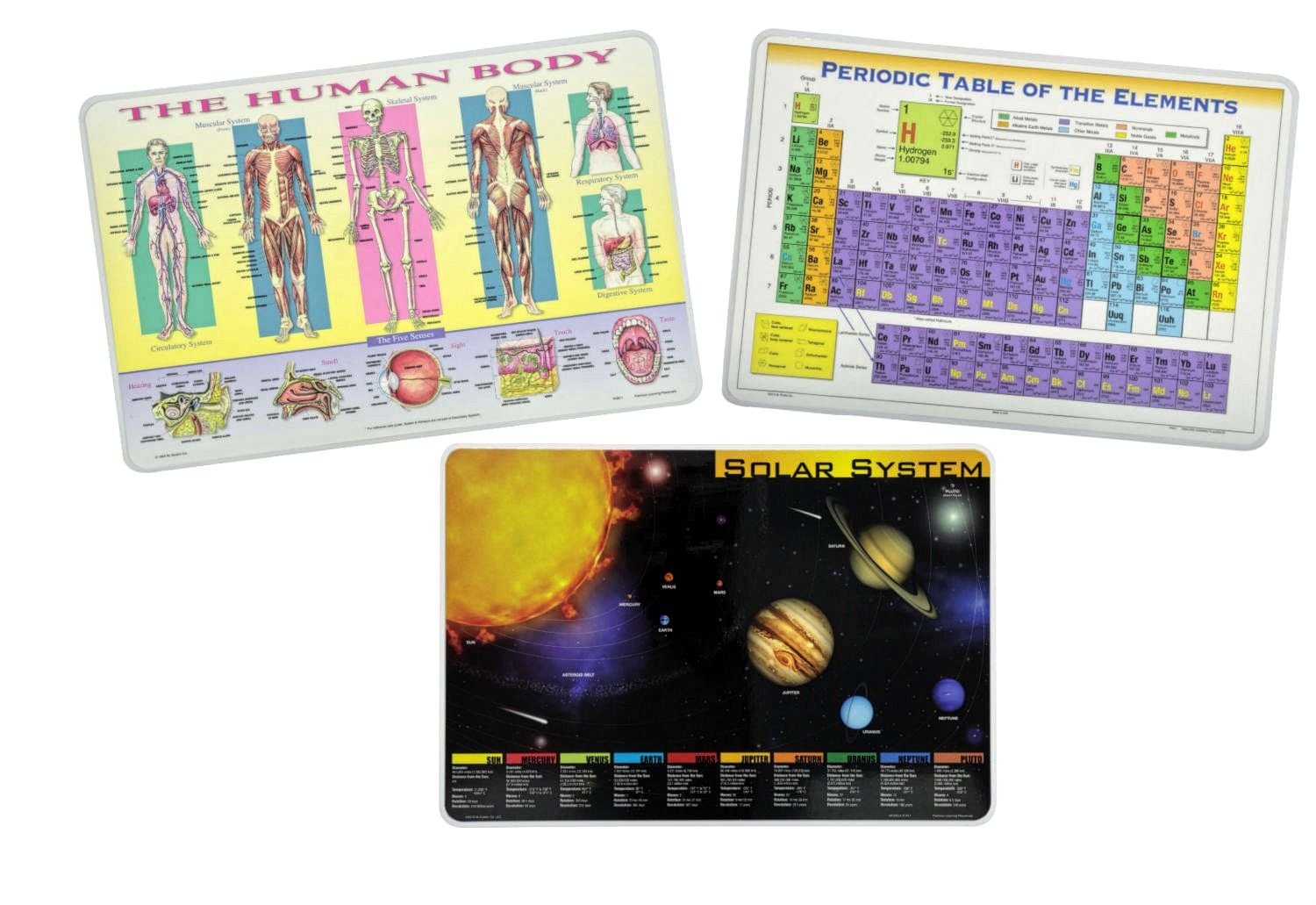 Periodic Table of Elements, Human Body, Solar System Learning Placemats for Kids