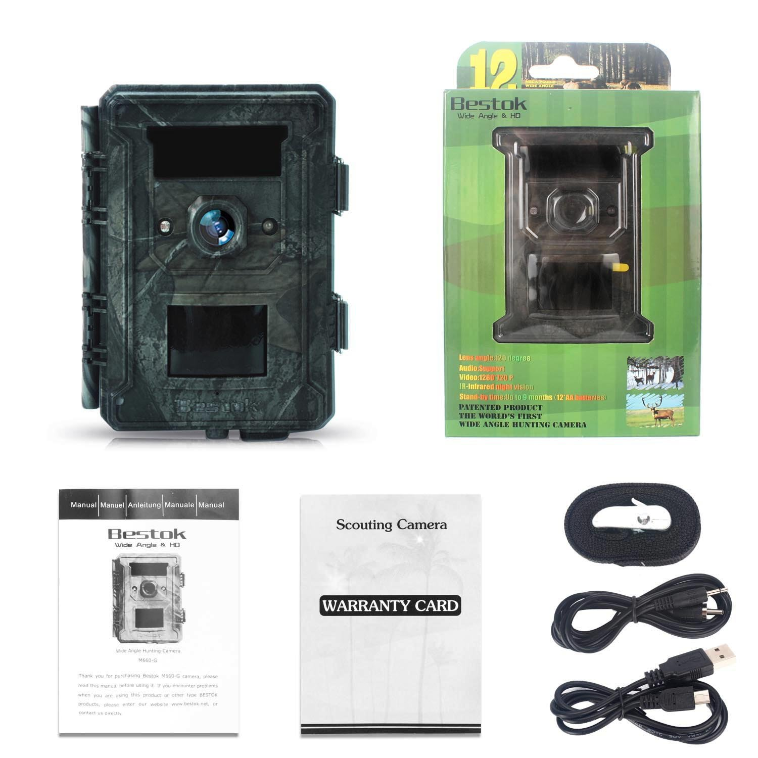 Bestok Trial Camera 12MP 120° HD Wildlife Hunting Cam with Infrared LEDs Night Vision 65 ft/20m 2.4'' LCD Waterproof IP65 Game Camera for Wildlife & Home Security by Bestok (Image #8)
