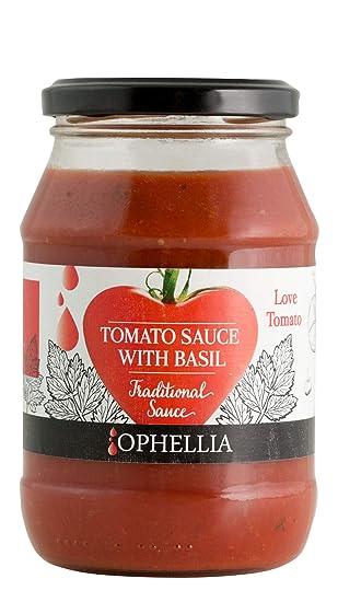 Ophellia Salsa de tomate Griega (con 98% de tomate) con albahaca en frasco