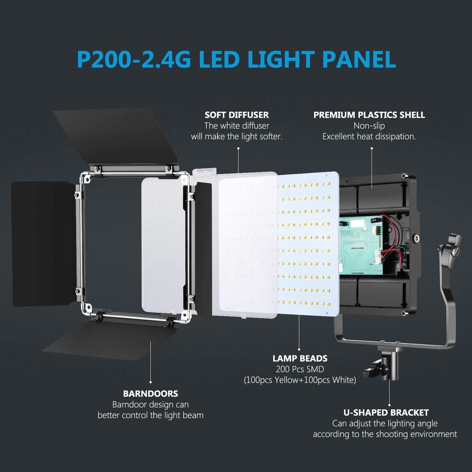 Remote//Battery//Charger//Case Included Neewer 2-Pack 2.4G LED Video Light with 2M Stand Bi-Color 200 SMD CRI 94+//U-Bracket//Barndoor//LCD Display Video Lighting Kit for Studio Photography