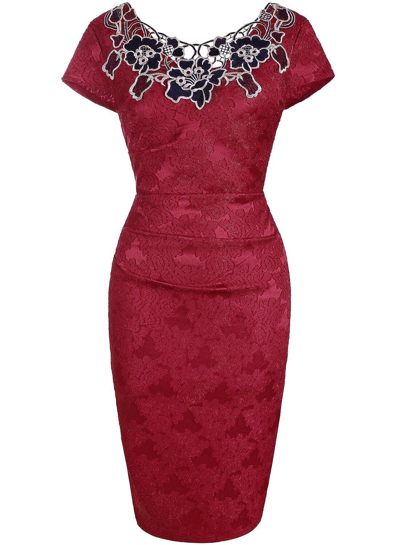 OTEN Women's Bodycon Patchwork Formal Midi Cocktail Evening Party Dress