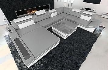 Wohnlandschaft design  Designer Wohnlandschaft Mezzo XXL mit LED grau - weiss: Amazon.de ...
