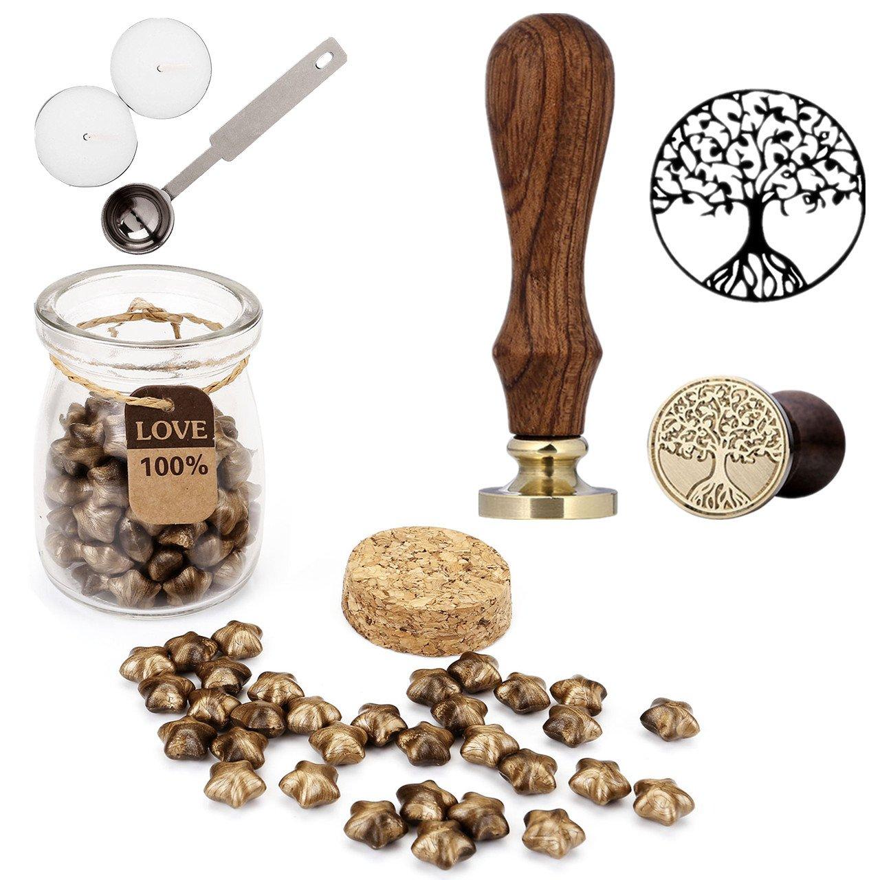 Mogoko Sigillo + Ceralacca in forma di Stella + Cera + Cera Stick Spoon Francobolli Vintage Kit per Lettera Personalizzata Timbri Personali REGALO SET - Oro MMIT271