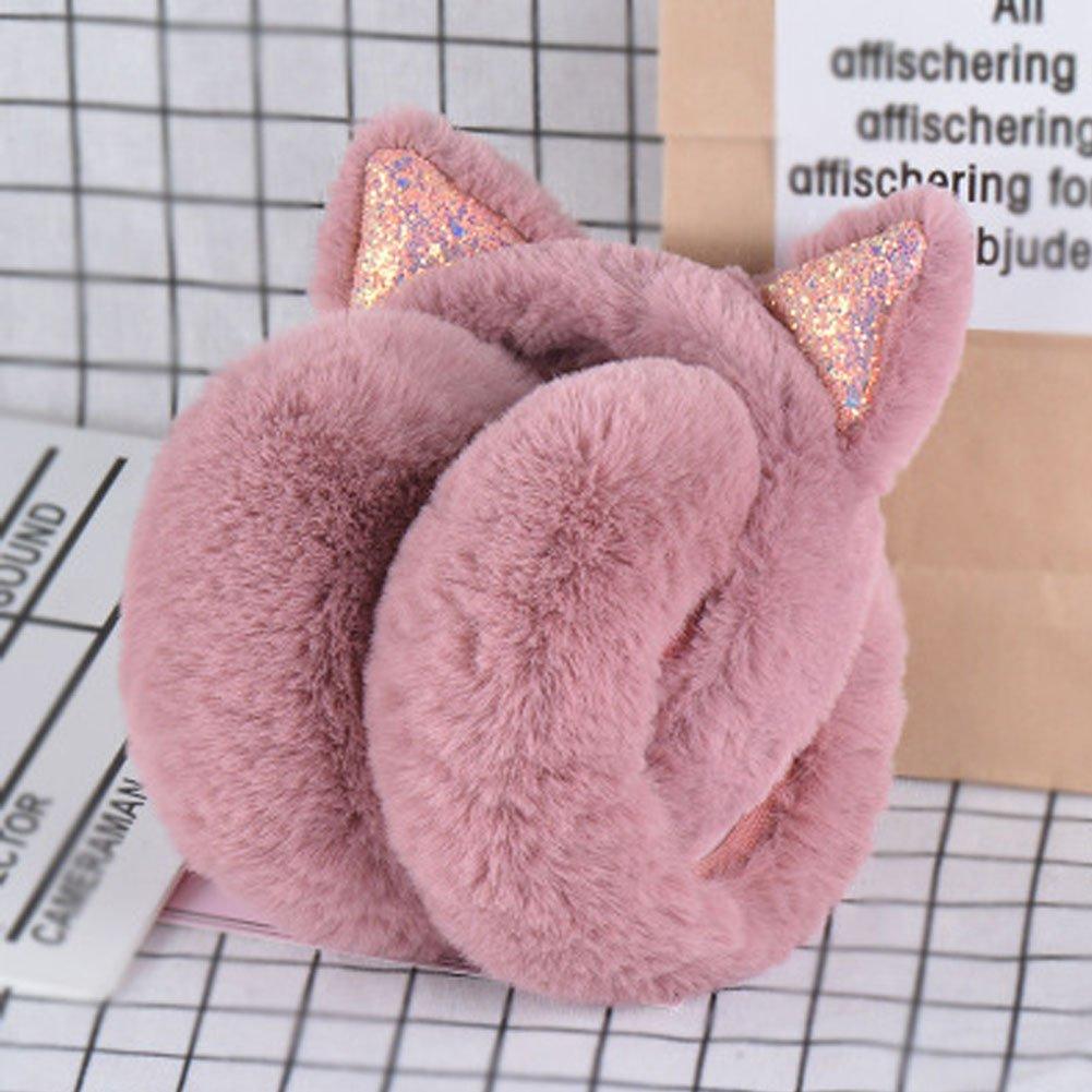 RuYa Girls Earmuffs Winter Warm Cat Ear Ear Warmer Faux Fur Plush Cat Ear Cover for Girls Lady