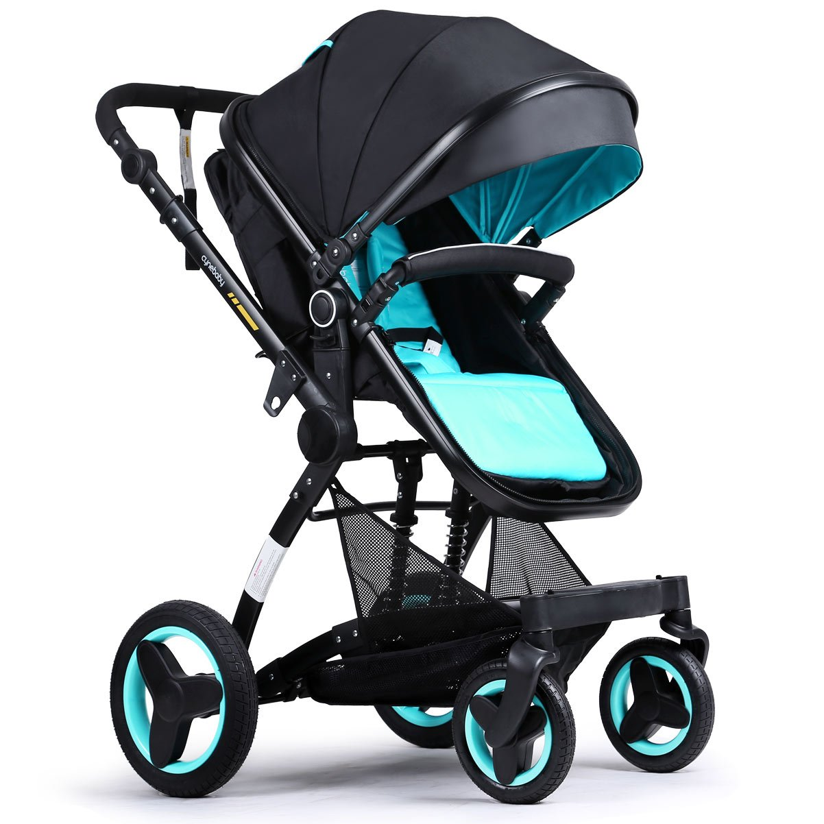 Baby stroller travel system folding pram pushchair infant toddler carriage high landscape (blue) by Cynebaby (Image #2)
