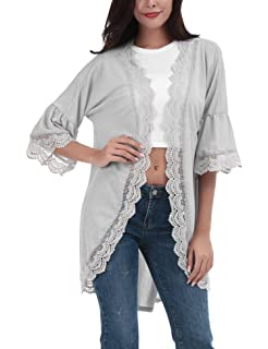 9a13959e10 FISOUL Women s Cardigan Cover Up Casual Loose 3 4 Bell Sleeve Lace Kimono  Cardigan Blouse