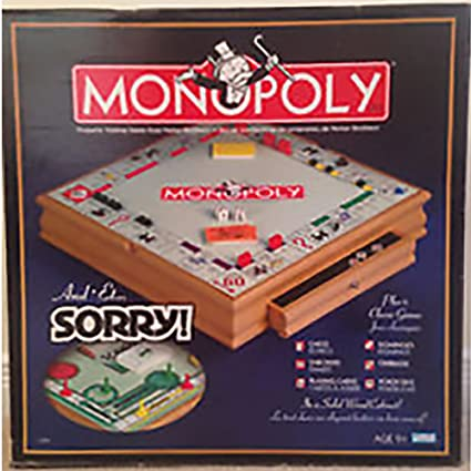 Monopoly And Sorry Plus 6 Classic Games Chess Checkers Playing Cards Dominos Cribbage Poker Dice Wooden Die Cast Very Rare Collectible Edition