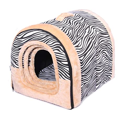 HUZHAO Caseta para Mascotas, 2 en 1 caseta para Gato extraíble y Lavable, Doble