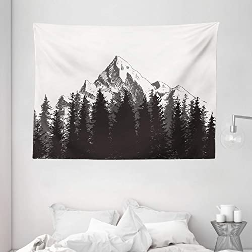 Ambesonne Prehistoric Tapestry, Mountain Fir Forest and Arrow Folk Style Retro Print, Wide Wall Hanging for Bedroom Living Room Dorm, 80 X 60 , Dimgrey