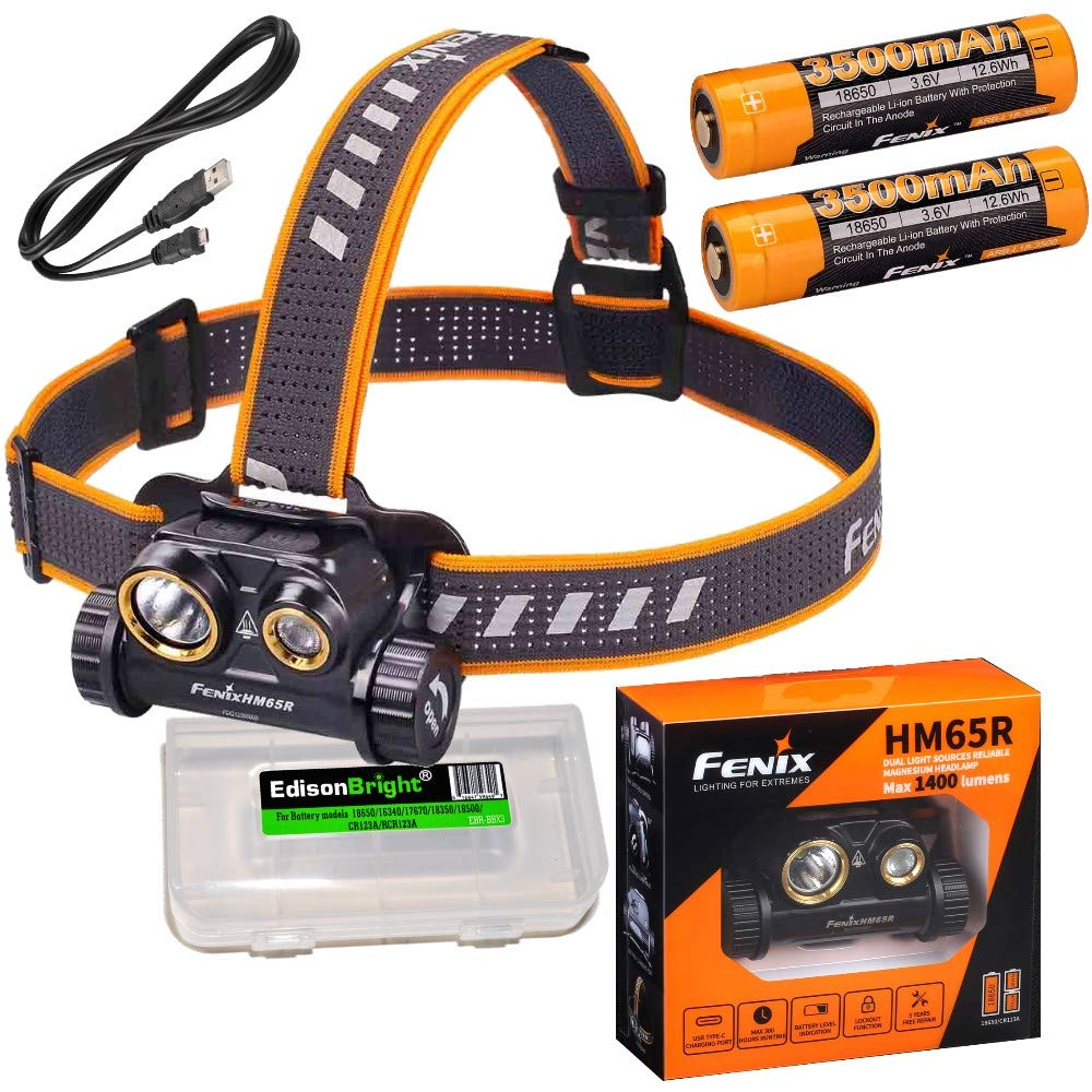 Fenix HM65R dual beam 1400 lumen LED Headlamp, 2 X high capacity batteries with EdisonBright battery carry case bundle by Fenix