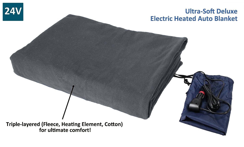 ObboMed SH-4214G Ultra weiche DELUXE elektrisch beheizbare 24V bequemer Polar Vlies Reise Decke mit Zigarettenanzünderstecker für alle Fahrzeuge mit 24V Batterieanschluss, Abmessungen 155x105cm Obbomed Group (BV)
