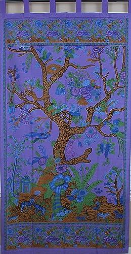 Tree of Life Tab Top Curtian-Drape-Door Panel-Purple